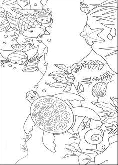 kleurplaat Mooiste vis van de zee - Mooiste vis en zeeschildpad