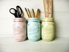Pastel Glam - Home, Dorm or Office Decor - Painted Mason Jar - Silver Inside - Vase. $18.00, via Etsy.