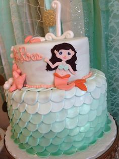 Ombre cake at a Mermaid Birthday Party!  See more party ideas at CatchMyParty.com!