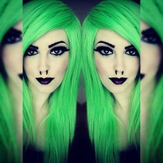 Happy Holidays Neon Lime Green Long Green Wig Bright Green Wig Emo... ($58) ❤ liked on Polyvore featuring beauty products, haircare, hair styling tools, bath & beauty, grey and hair care