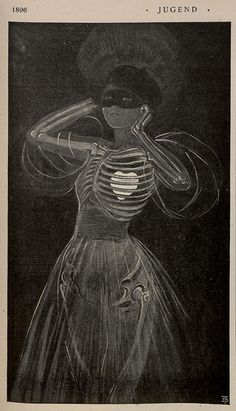 Jugend Vintage French Magazine Illustration  (  mask / skeleton / heart / etching / vintage art )