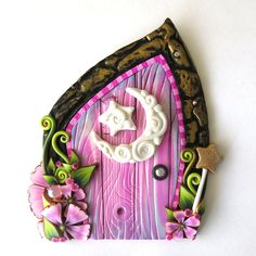 Pink Fairy Door with a Moon and Star Handmade by Claybykim Polymer Clay Miniature Fairy Garden Decor by Claybykim on Etsy