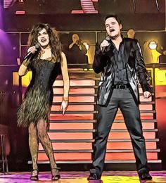 A digital art work of Donny & Marie Osmond from a photo found on the Internet.