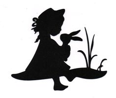 girl with bunny Silhouette