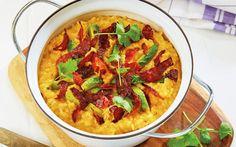 Søtpotetgrøt med chorizo à la Vibeke Klemetsen Dinner Side Dishes, Dinner Sides, Chorizo, Vegetable Pizza, Food Inspiration, Tasty, Ethnic Recipes, Dinners