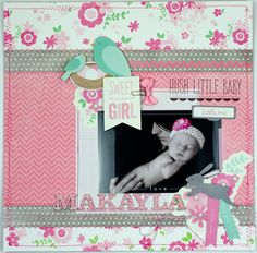 Baby scrapbook layout created by @Tiffany Hood using @Pebbles Smith Inc. #SpecialDelivery collection #scrapbooking #baby