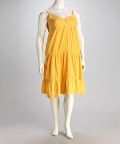 Take a look at this Yellow Button V-Neck Dress - Plus by Unity on #zulily today!