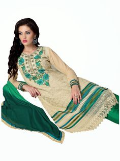 Party Wear Beige and Green Heavily Embroidered Chanderi Cotton Suit. Comes along with Santoon Bottom and Viscose Dupatta.