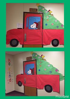 Christmas door. Snoopy. Door Decor. Classroom Decorating. Holiday decorating. I love snoopy! #christmasdoordecor