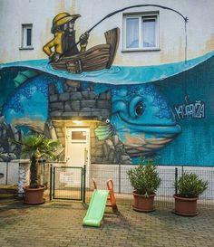 Fisherman and his fish. Best Street Art, 3d Street Art, Amazing Street Art, Street Artists, Graffiti Wall Art, 3d Wall Art, Mural Art, Murals Street Art, Street Art Graffiti