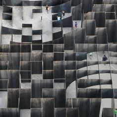 Belgian architects and artists Pieterjan Gijs and Arnout Van Vaerenbergh with an immersive labyrinth to mark the tenth birthday of the C-mine art centre in Genk, Belgium.