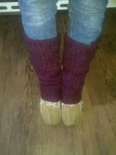 Cut off sleeves from old sweeter to make leg warmers