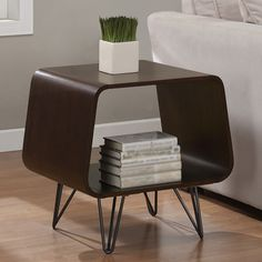 This retro end table brings you storage and a table in one simple piece of furniture, and has a unique look that's sure to draw attention. Its dark walnut finish helps it blend in with existing furniture, and the finish on its legs resists marring. Modern End Tables, Sofa End Tables, Side Tables, Coffee Tables, Modern Home Furniture, Furniture Deals, Furniture Outlet, Online Furniture, Furniture Design