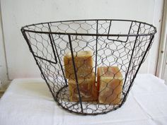 Vintage french farmhouse wire basket by MyNiftyBrocante on Etsy, $ 45.00
