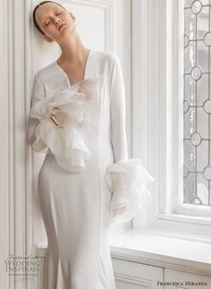 Inspired by the glamour and intrigue of a masked ball, Francesca Miranda's Spring 2020 bridal collection features details that are high on Francesca Miranda, Lovely Dresses, Formal Dresses, Magic Women, Long Sleeve Gown, Bridal Wedding Dresses, Bridal Collection, Ruffles, One Shoulder Wedding Dress