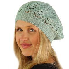 4ee337293af Light Soft Thin Summer Vent Cut Out Stretch Knit Beret Beanie Hat Cap Tam  Mint