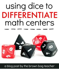 Strategy - Great ideas for easily differentiating math centers and math workshop with different types of dice! Prefect for math and me! Fun Math, Math Games, Math Activities, Dice Games, Learning Games, Easy Math, Math Help, Math Tutor, Teaching Math