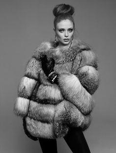 retro fox fur coat