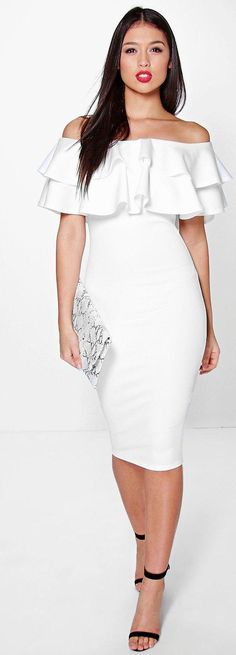 Dixie Bardot Layered Frill Detail Midi Dress - Dresses  - Street Style, Fashion Looks And Outfit Ideas For Spring And Summer 2017