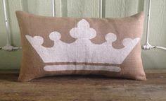 Burlap Crown Pillow Lumbar Crown Pillow by TwoPeachesDesign