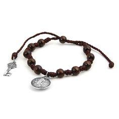 Fashion Bracelet - Adjustable Saint Benedict Medal Key Rosary Prayer Beads -- Click image for more details.