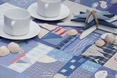 """create a coastal look either inside or out with """"Oceana"""" wipe clean tablecloth by d-c-fix"""
