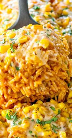 Chicken Enchilada Rice Casserole ~ The chicken enchilada rice casserole has all the components you love: chicken breasts, rice, refried beans, corn kernels, enchilada sauce, and tons of gooey cheese and seasonings.