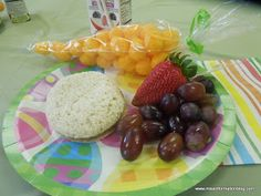 Preschool Easter Party, cute egg shaped PBJ's and cheese ball carrots missinformationblog.com #easterparty #easter