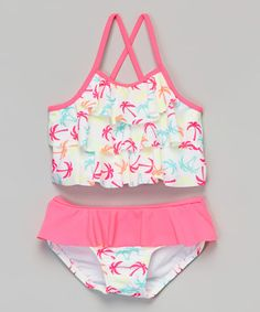 Love this Pink Palm Tree Tankini - Infant & Toddler on #zulily! #zulilyfinds