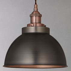 Buy John Lewis Baldwin Pendant Ceiling Light, Pewter& from our Ceiling Lighting range at John Lewis. Free Delivery on orders over Copper Light Fixture, Copper Pendant Lights, Copper Lighting, Antique Lighting, Island Lighting, John Lewis Pendant Lights, Pendant Lamps, Ceiling Pendant, Industrial Lighting
