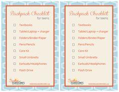 Teen Organization:Teen Backpack Checklist