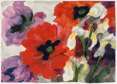emil nolde, poppies and irises, 1930