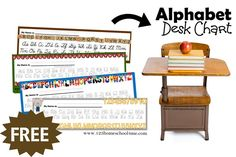 These handy FREE Alphabet Desk Chart are the perfect visual to help kids learning to write remember how letters are suppose to look. Narrative Writing, Writing Desk, Printable Alphabet, Free Printable, Writing Activities, Teacher Resources, Homeschooling, Kid Stuff, Classroom Ideas