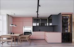 Pink and grey decor elements work in smooth harmony together. Take this modern apartment for example. A grey and pink kitchen, pink bedroom accent walls, and even some highly unusual pink bathroom… Contemporary Interior Design, Modern Kitchen Design, Kitchen Contemporary, Modern Design, Contemporary Building, Contemporary Garden, Contemporary Bedroom, Contemporary Architecture, Kitchen Designs