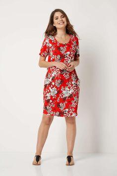 Rochie moderna, de culoare rosie, cu imprimeu floral - Rochii - Rochii de primavara-vara Cocoon Dress, Roman Originals, Floral Prints, Short Sleeves, Mai, Modern, Neckline, Pockets, Vintage