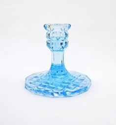 Vintage Art Deco, Depression Blue Glass Candle Holder , UK Seller on Etsy, $16.86