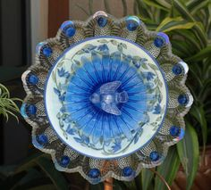 Blue Repurpose Glass Egg Plate Flower ~ Love the tiny bird in the middle!