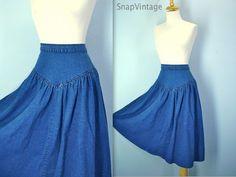 High Waist Denim Skirt / Drop Waist / 80s Blue by SnapVintage, $24.00