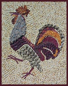 dried bean rooster pattern   We had dried bean rooster wall art in our dining room similar to this ...
