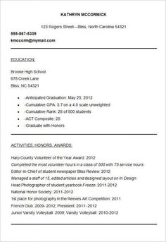 Resume Sample For Experienced Fair With No Experience  Resume Template  Pinterest  Resume Examples