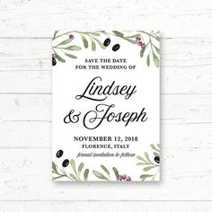 Tuscan Italian Printable Save the Date Card Wedding by CrissyDesignCo Printable Invitations, Printables, Retirement Party Invitations, Retirement Parties, Online Printing Companies, Printing Services, Fingerprint Tree, Whats In Your Purse