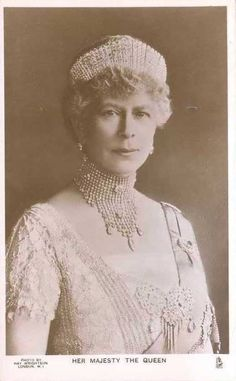 Queen Mary, Queen Consort of George V, wearing Alexandra's diamond kokoshnic, made in 1888 by Garrards.