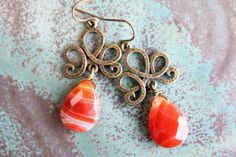 Autumn Orange Agate Earrings with Antique Gold Metal by adairya2, $14.00