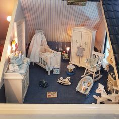 """Marike's Dollhouse World on Instagram: """"This is other nursery in my first  Dollhouse. This one is for a baby boy. As I told you before I love nurseries and that's why this house…"""" Wooden Barbie House, Popsicle Stick Houses, Miniature Rooms, Small Stuff, House Interiors, Miniture Things, Early Learning, Nurseries, Doll Houses"""