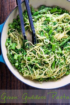 Green Goddess Pasta Recipe ~ Says: The avocado makes the sauce luxuriously creamy, while the fresh herbs and citrus juices make it perfect for spring. I tossed the pasta with asparagus, peas, and arugula. The result is fresh, vegetal, and downright delicious
