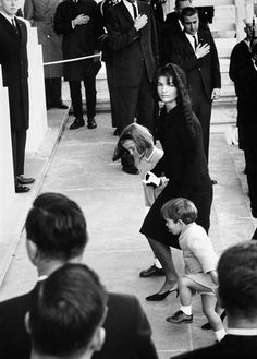 mrs-kennedy-and-me:  Jacqueline Kennedy and her two children at John F. Kennedy's funeral, 1963