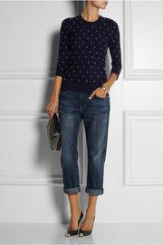 JCrew sweater, boyfriend jeans, and heels …