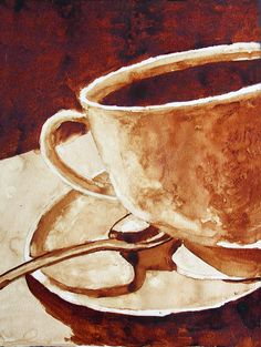 "Morning Brew (Andrew Saur)  ""A coffee painting of coffee in a coffee cup."" / Coffee Art / Coffee Shop Stuff"