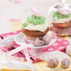 Mandelmus-Cupcakes (Foto Mona Lorenz) Mona, Mini Cupcakes, Desserts, Oven, Food Portions, Dessert Ideas, Cooking Recipes, Food Food, Deserts