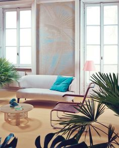 Palm by StudioPepe  Studiopepe worked with photographer Andrea Ferrari to immortalise this very successful interior design done for Elle Decor Italy. Colors and beautiful exotic patterns, using shades of greens and blues that bring softness and warmth to the room, accentuated by the presence of palm trees.